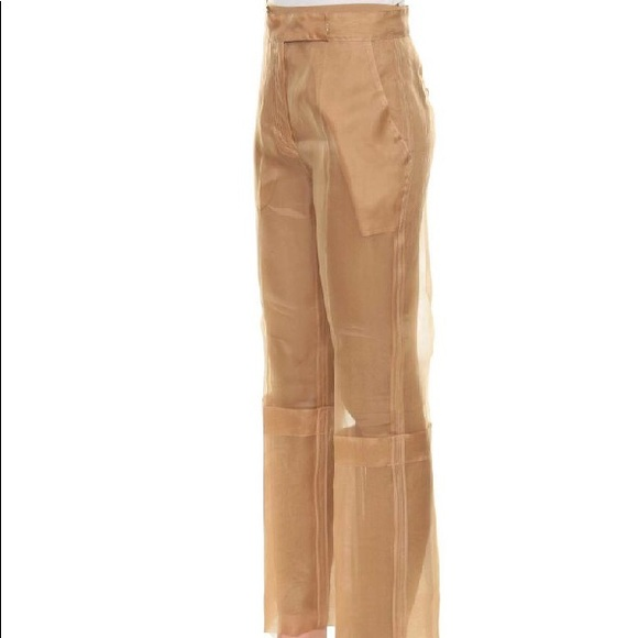 Maxmara silk Beige color see through pants